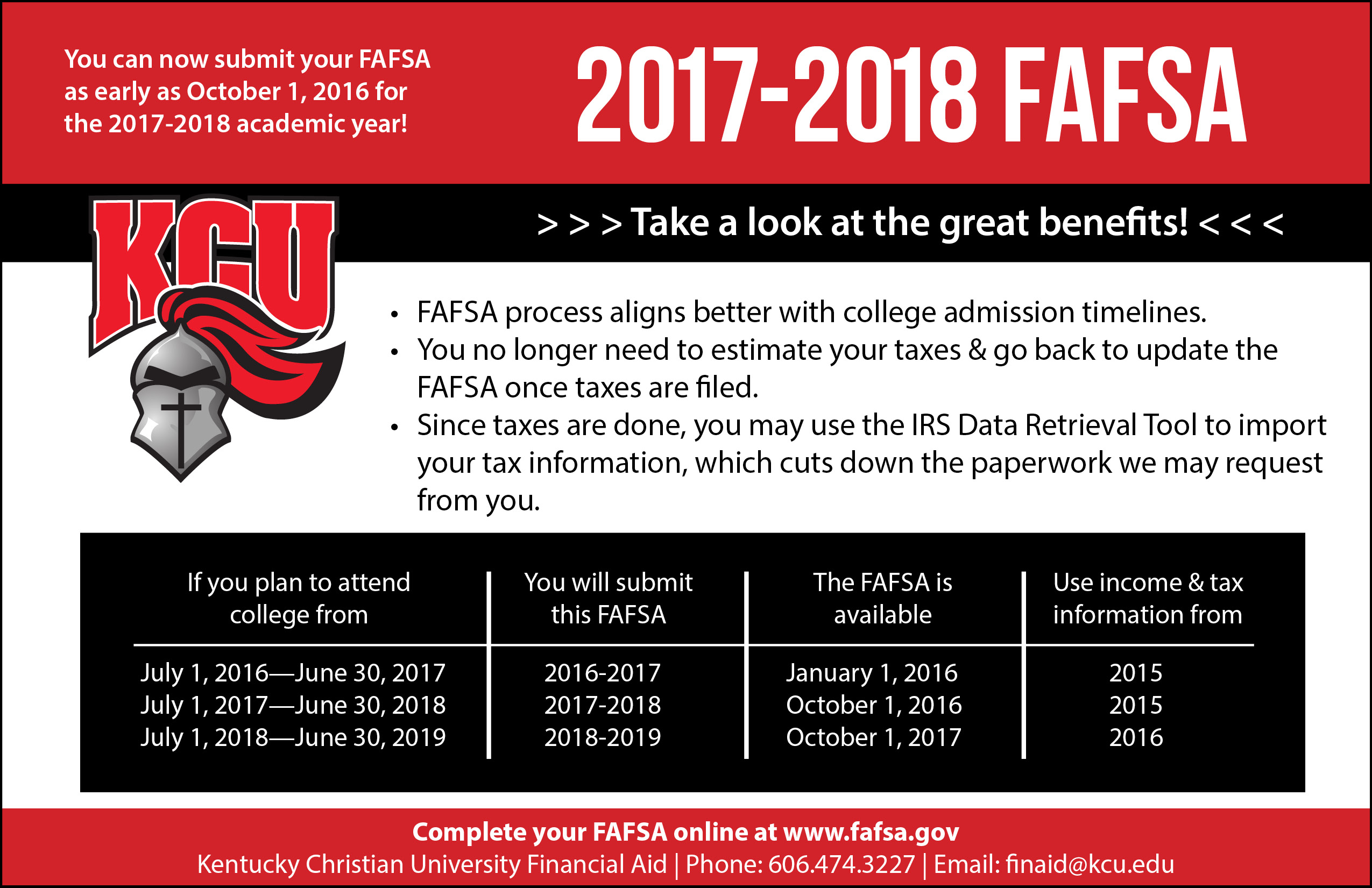 FAFSA Worksheet | Kentucky Christian University